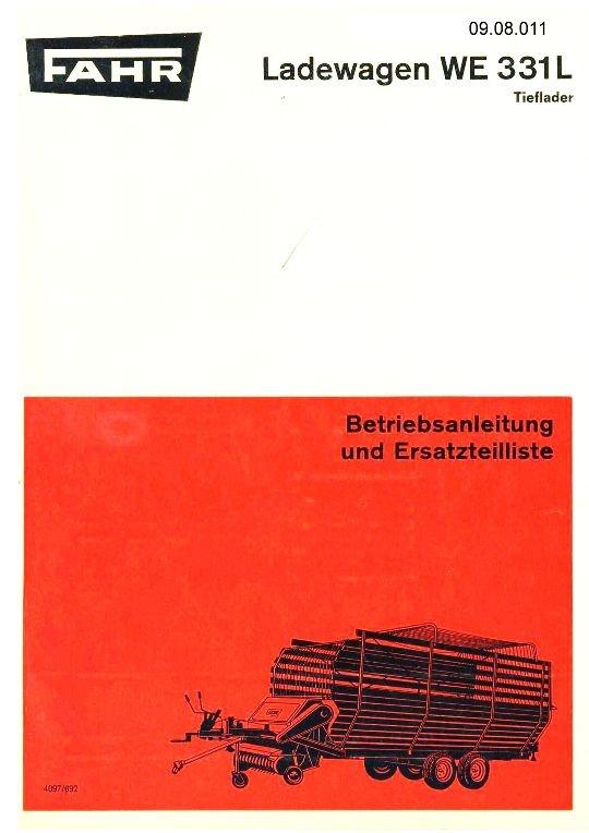 Fahr Ladewagen We 310 L Betriebsanleitung Und Ersatzteilliste Literatur & Videos